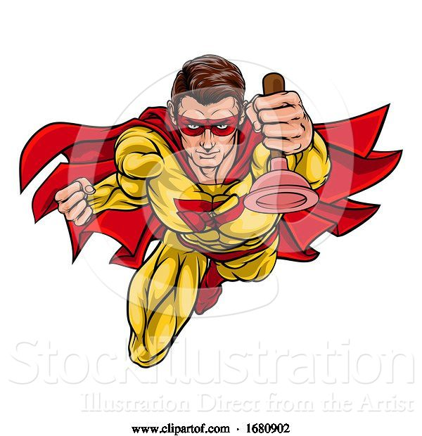 Vector Illustration of Cartoon Super Plumber Handyman Superhero Holding Plunger