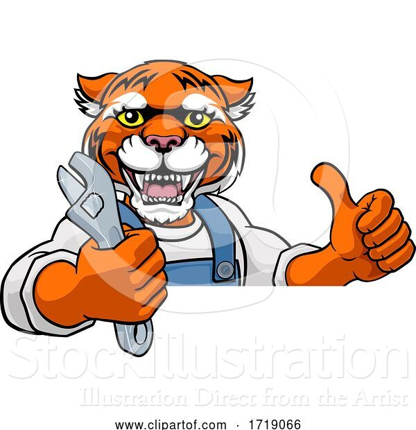 Vector Illustration of Cartoon Tiger Plumber or Mechanic Holding Spanner