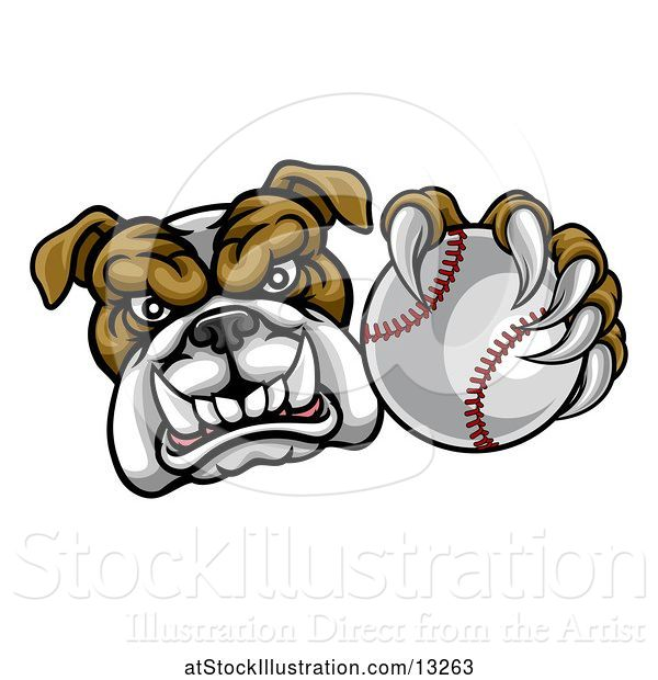 Vector Illustration of Cartoon Tough Bulldog Monster Mascot Holding out a Baseball in One Clawed Paw