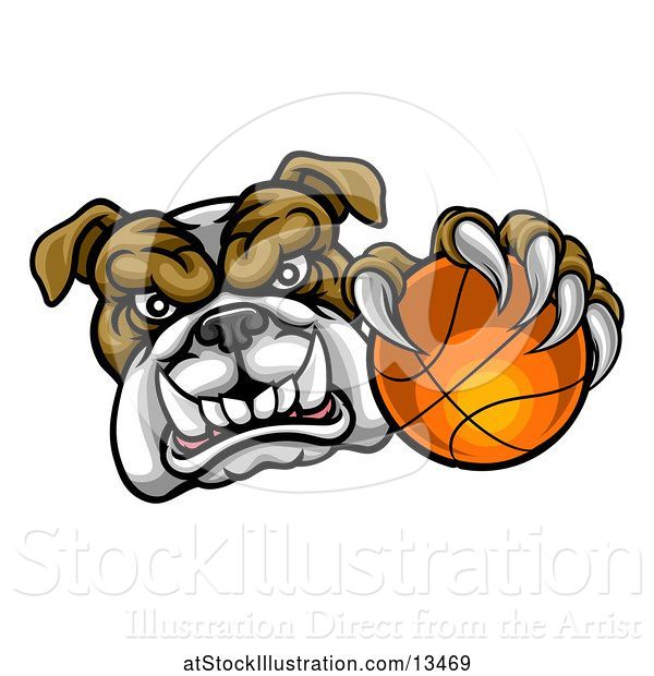 Vector Illustration of Cartoon Tough Bulldog Monster Mascot Holding out a Basketball in One Clawed Paw