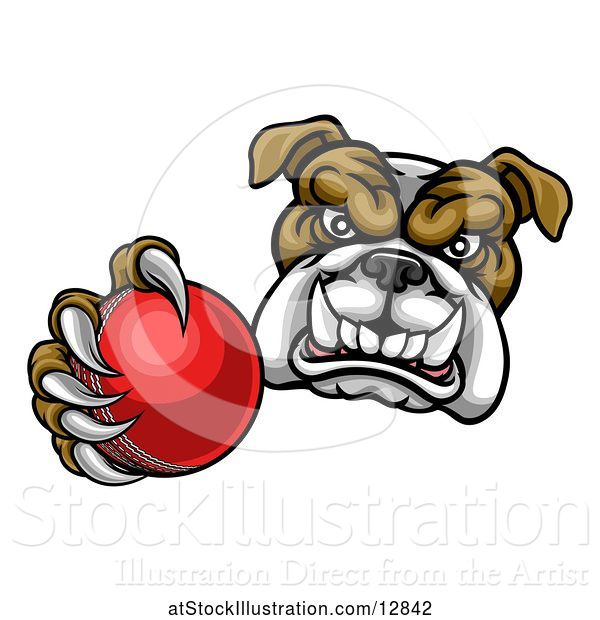 Vector Illustration of Cartoon Tough Bulldog Monster Mascot Holding out a Cricket Ball in One Clawed Paw