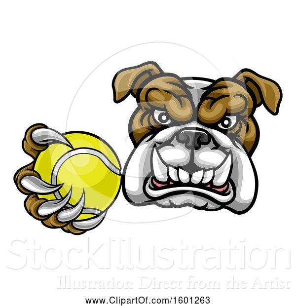 Vector Illustration of Cartoon Tough Bulldog Monster Mascot Holding out a Tennis Ball in One Clawed Paw