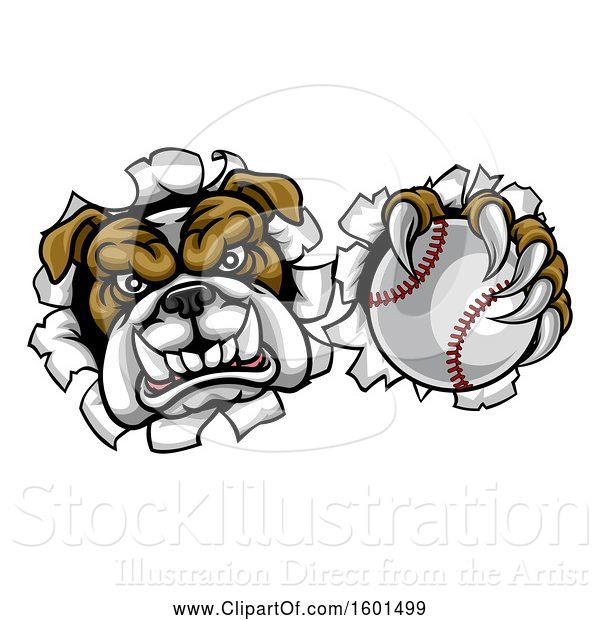 Vector Illustration of Cartoon Tough Bulldog Monster Sports Mascot Holding out a Baseball in One Clawed Paw and Breaking Through a Wall