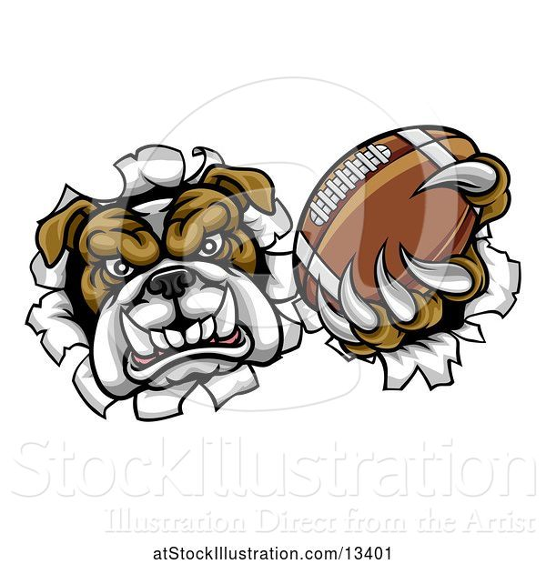 Vector Illustration of Cartoon Tough Bulldog Monster Sports Mascot Holding out a Basketball in One Clawed Paw and Breaking Through a Wall