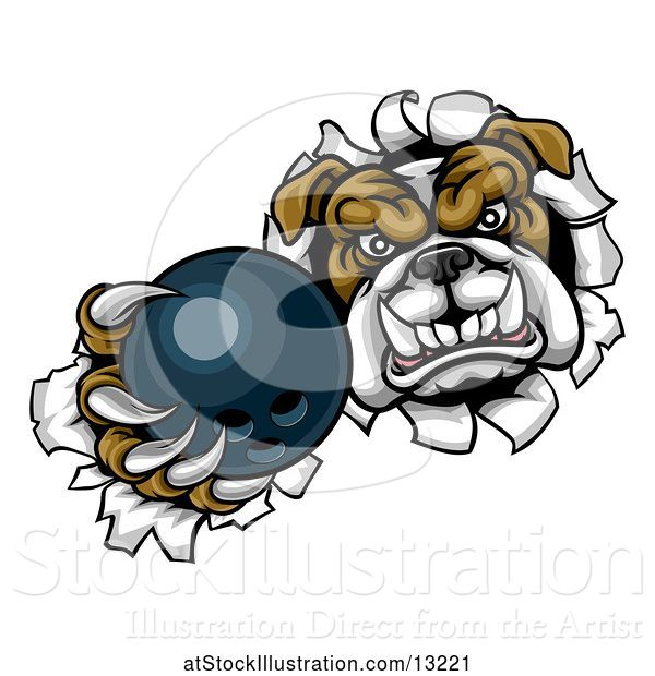 Vector Illustration of Cartoon Tough Bulldog Monster Sports Mascot Holding out a Bowling Ball in One Clawed Paw and Breaking Through a Wall