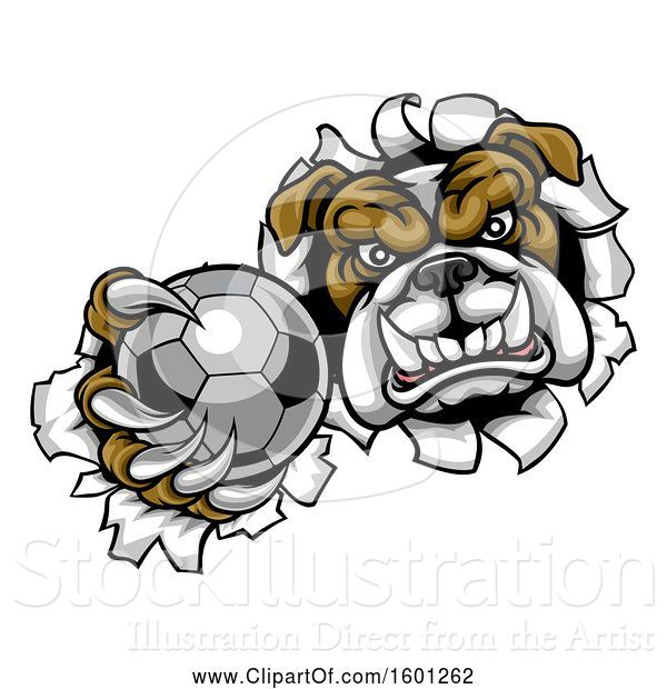 Vector Illustration of Cartoon Tough Bulldog Monster Sports Mascot Holding out a Soccer Ball in One Clawed Paw and Breaking Through a Wall