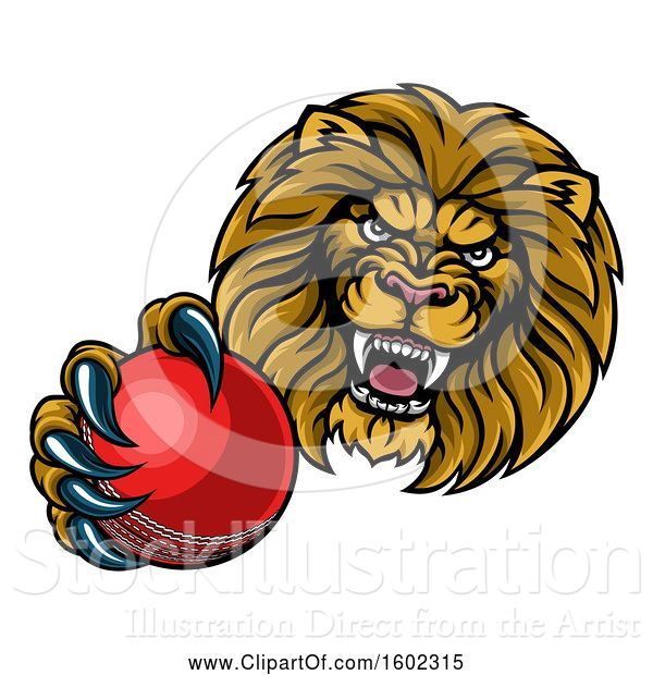 Vector Illustration of Cartoon Tough Lion Monster Mascot Holding out a Cricket Ball in One Clawed Paw