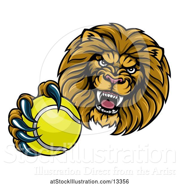 Vector Illustration of Cartoon Tough Lion Monster Mascot Holding out a Tennis Ball in One Clawed Paw
