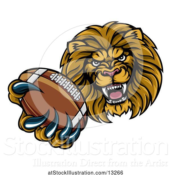 Vector Illustration of Cartoon Tough Lion Monster Mascot Holding out an American Football in One Clawed Paw