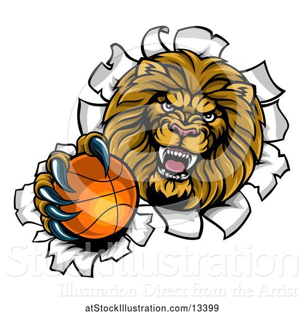 Vector Illustration of Cartoon Tough Lion Sports Mascot Holding out a Basketball and Breaking Through a Wall