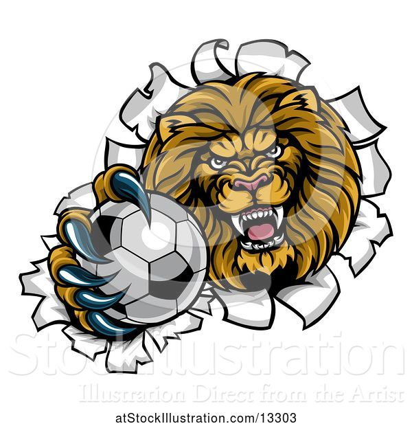 Vector Illustration of Cartoon Tough Lion Sports Mascot Holding out a Soccer Ball and Breaking Through a Wall