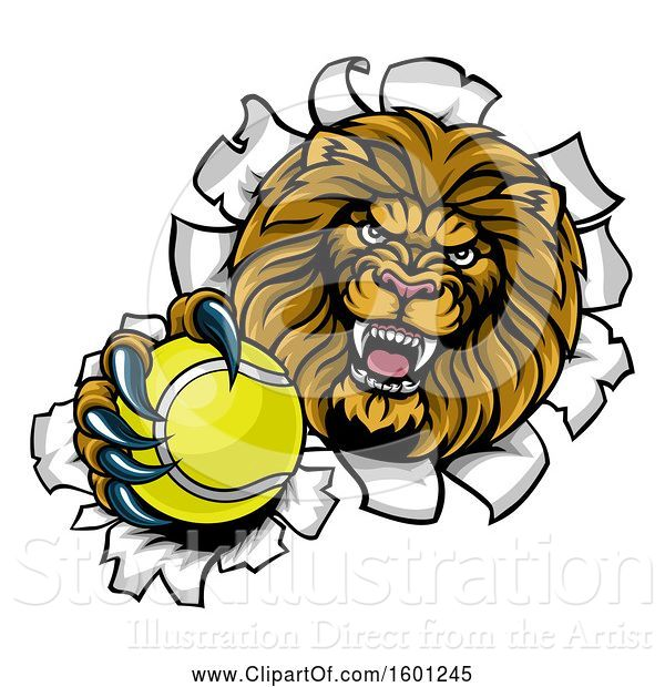 Vector Illustration of Cartoon Tough Lion Sports Mascot Holding out a Tennis Ball and Breaking Through a Wall