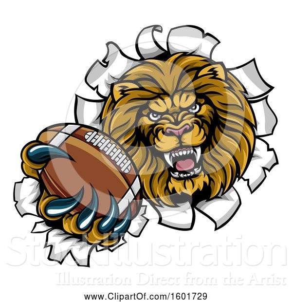 Vector Illustration of Cartoon Tough Lion Sports Mascot Holding out an American Football and Breaking Through a Wall