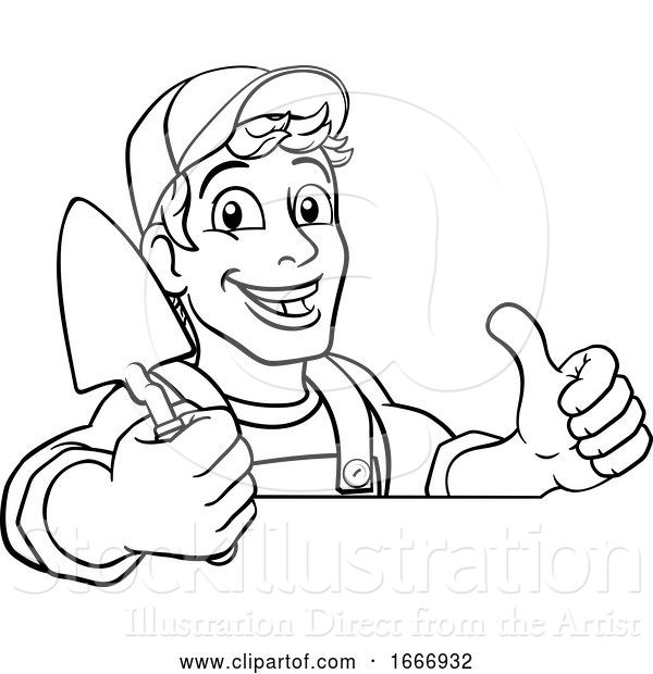 Vector Illustration of Cartoon Trowel Construction Site Builder Handyman