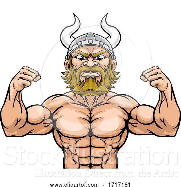Vector Illustration of Cartoon Viking Barbarian Mascot Muscle Strong Cartoon