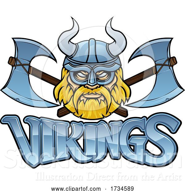 Vector Illustration of Cartoon Viking Crossed Axes Mascot Warrior Sign Graphic