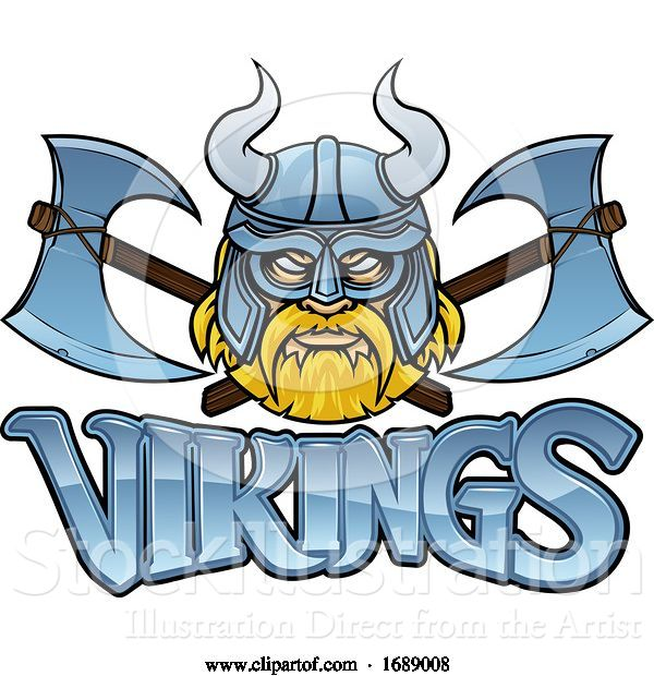 Vector Illustration of Cartoon Viking Mascot Warrior Crossed Axes Sign Graphic