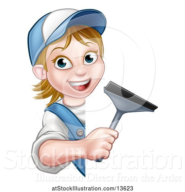 Vector Illustration of Cartoon White Female Window Cleaner Holding a Squeegee Around a Sign