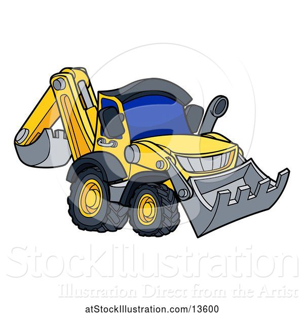 Vector Illustration of Cartoon Yellow Digger Bulldozer Machine