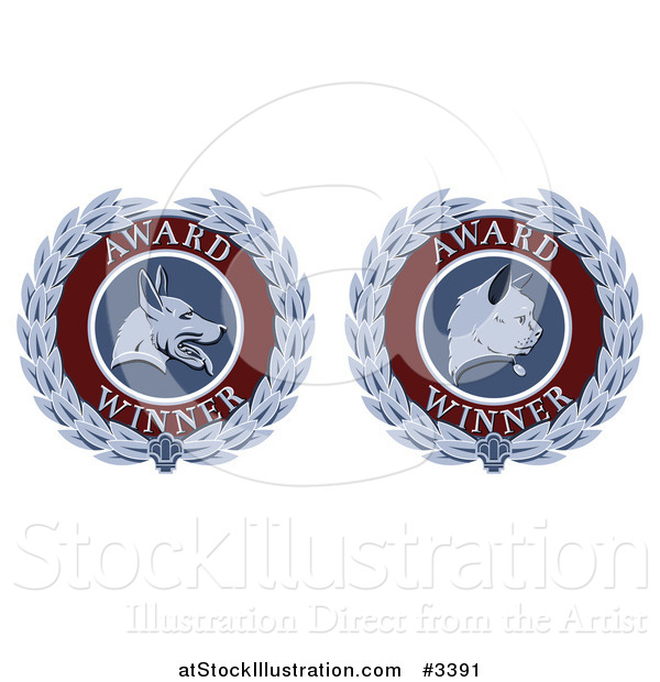 Vector Illustration of Cat and Dog Laurel Wreath Pet Award Medals