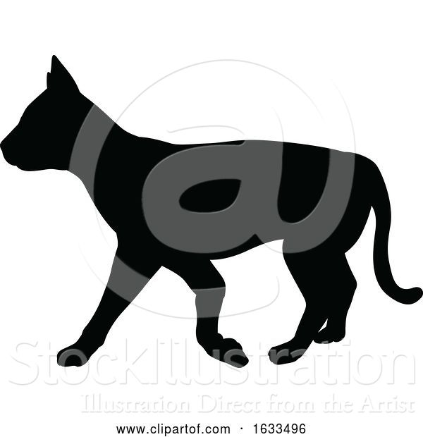 Vector Illustration of Cat Pet Animal Silhouette