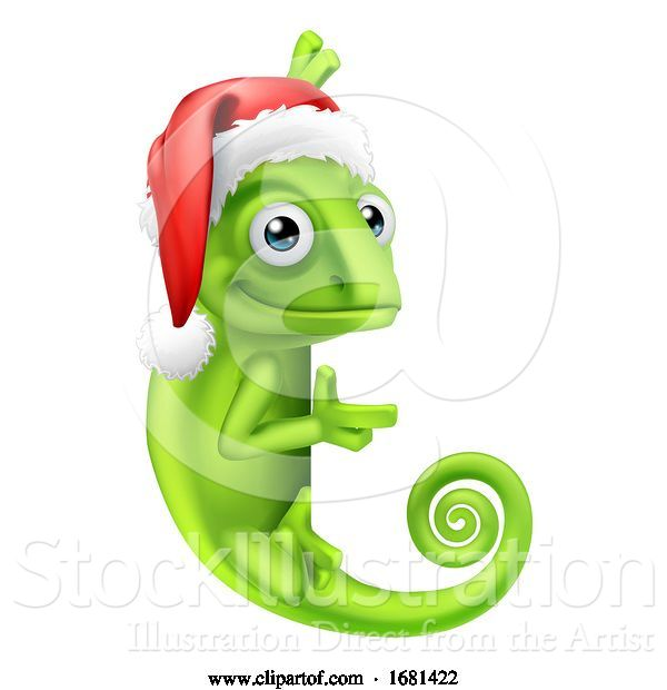 Vector Illustration of Chameleon Christmas Santa Hat Pointing at Sign