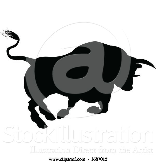 Vector Illustration of Charging Bull Silhouette