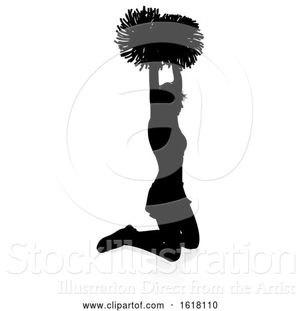Vector Illustration of Cheerleader Pom Poms Silhouette, on a White Background