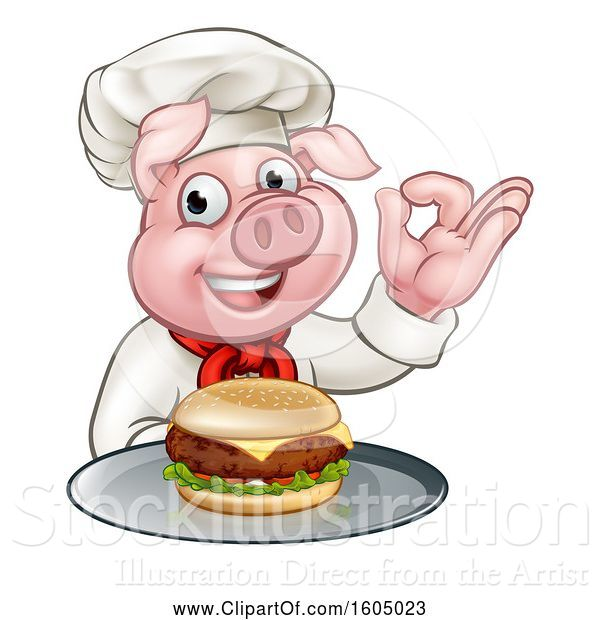 Vector Illustration of Chef Pig Holding a Cheeseburger on a Tray and Gesturing Perfect