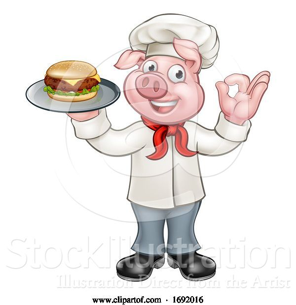 Vector Illustration of Chef Pig Holding Burger