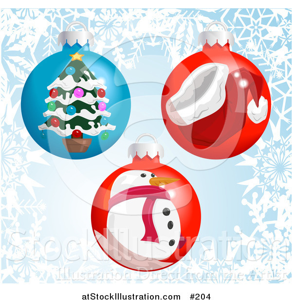 Vector Illustration of Christmas Bauble Ornaments with a Snowflake Background