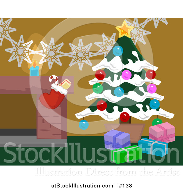 Vector Illustration of Christmas Decorations by a Hearth in a Home, Christmas Tree and Stocking