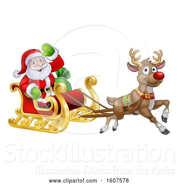 Vector Illustration of Christmas Santa Claus in a Flying Magic Sleigh with a Red Nosed Reindeer