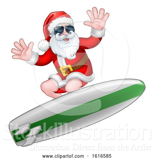 Vector Illustration of Christmas Santa Claus Surfing and Wearing Sunglasses
