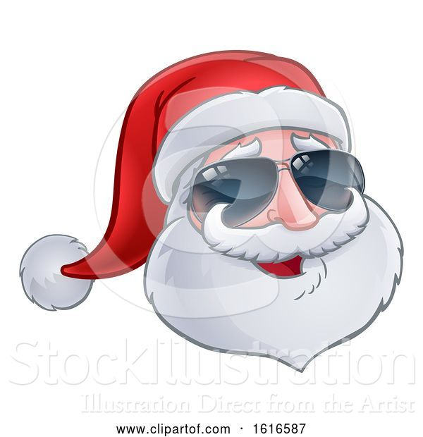 Vector Illustration of Christmas Santa Claus Wearing Sunglasses