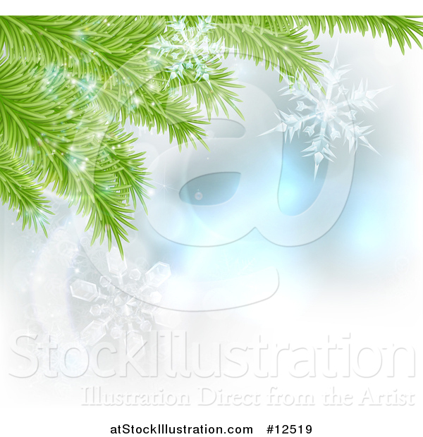 Vector Illustration of Christmas Tree Branches with Snowflakes - Background Design