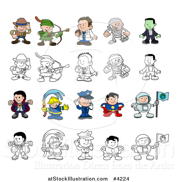 Vector Illustration of Colored and Outlined People and Children in Halloween Costumes and Uniforms