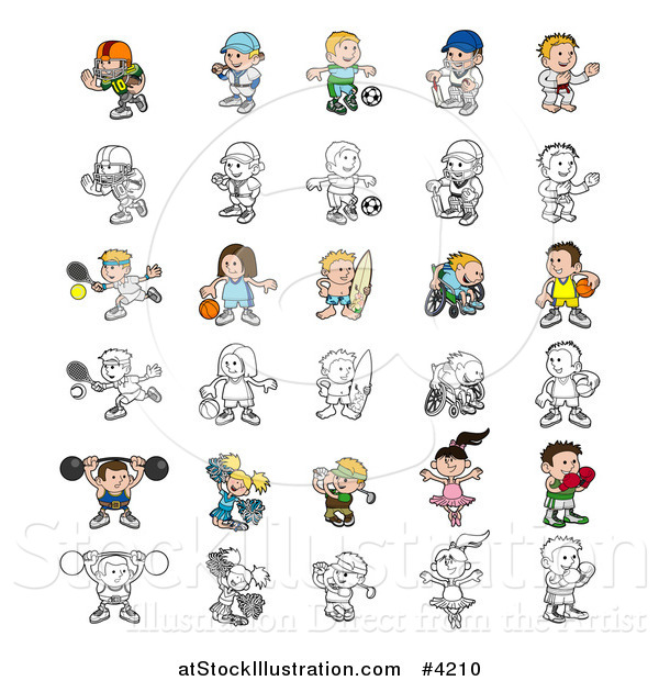 Vector Illustration of Colored and Outlined People Engaged in Different Sports