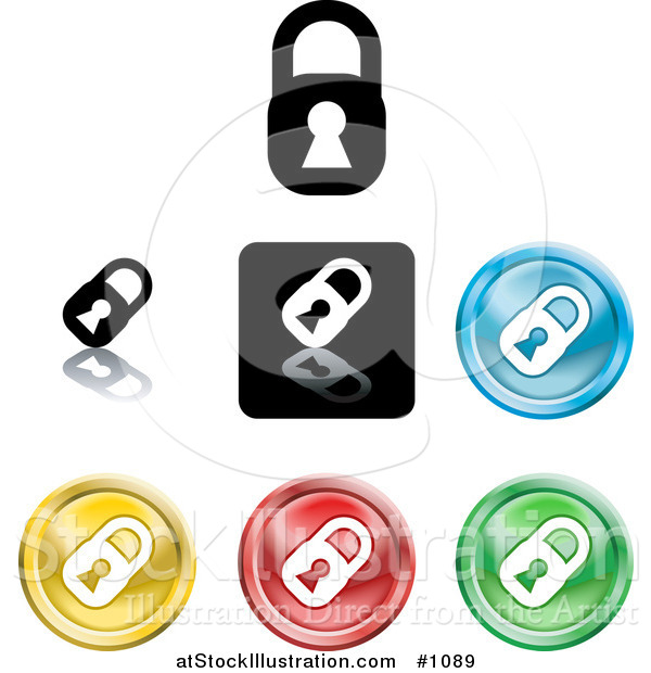 Vector Illustration of Colored Padlock Button Icons
