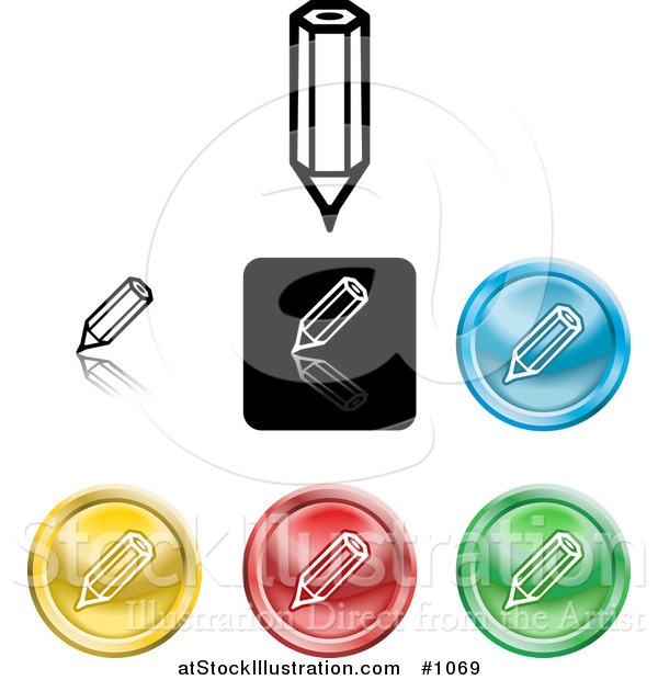 Vector Illustration of Colored Pencil Icon Buttons