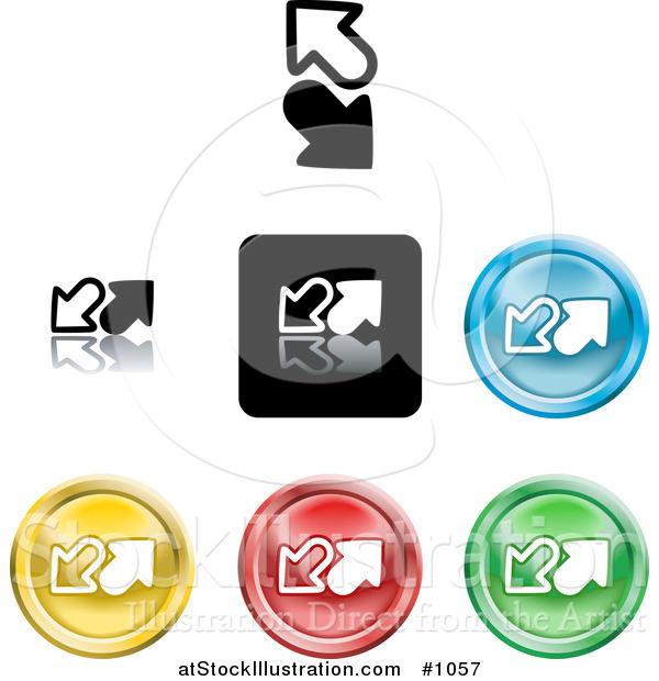 Vector Illustration of Colored Upload and Download Icon Buttons
