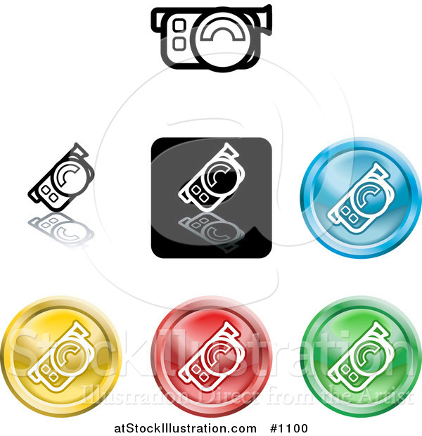 Vector Illustration of Colored Video Camera Icon Buttons