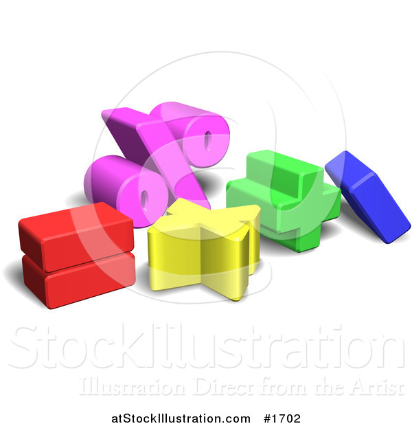 Vector Illustration of Colorful 3d Mathematics Symbols