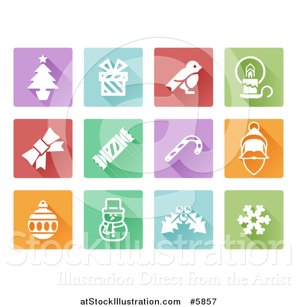 Vector Illustration of Colorful Flat Design Square Christmas Item Icons