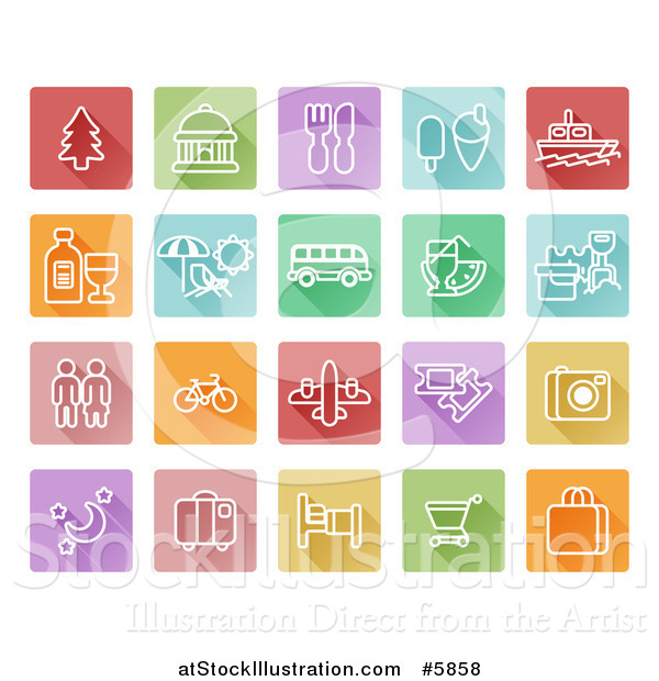 Vector Illustration of Colorful Flat Design Square Travel Icons