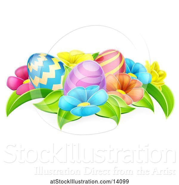 Vector Illustration of Colorful Flowers and Easter Eggs