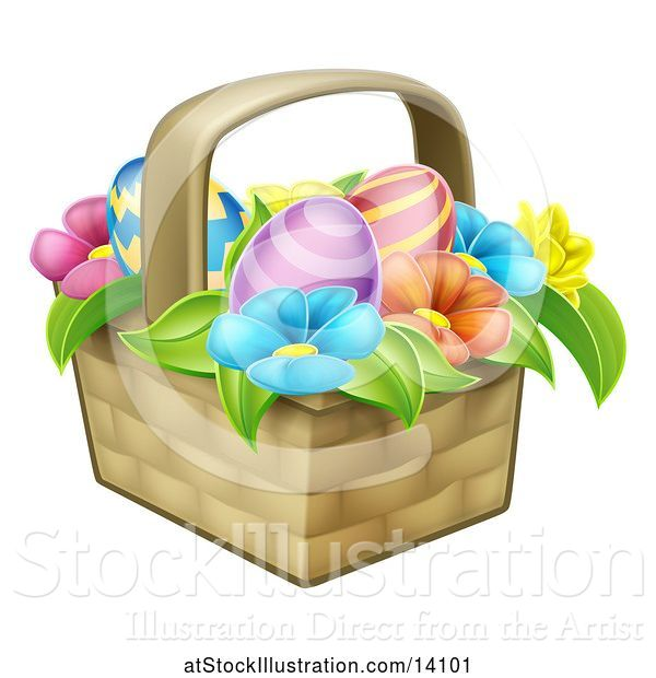 Vector Illustration of Colorful Flowers and Easter Eggs in a Basket