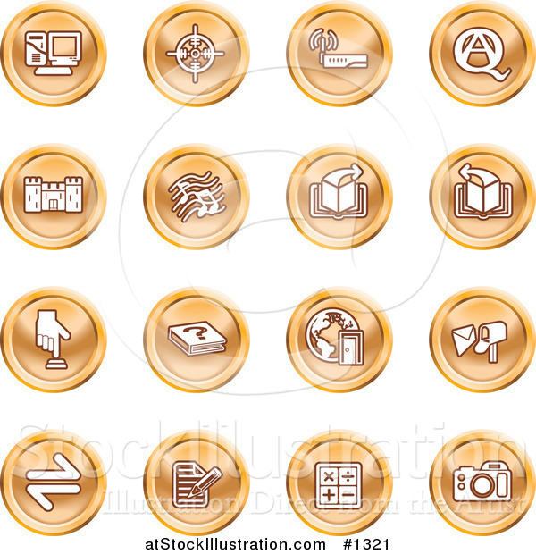 Vector Illustration of Computer, Viewfinder, Wireless, Questions and Answer, Castle, Music, Forward, Back, Www, Mail, Math and Camera