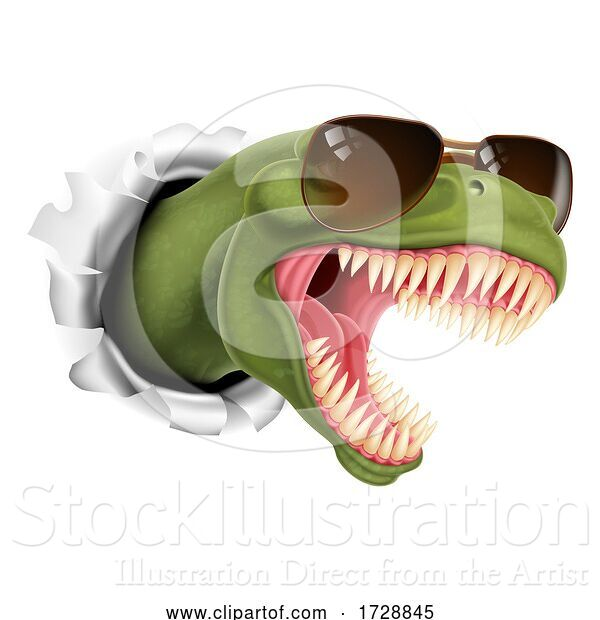 Vector Illustration of Cool Dinosaur Wearing Shades Sunglasses