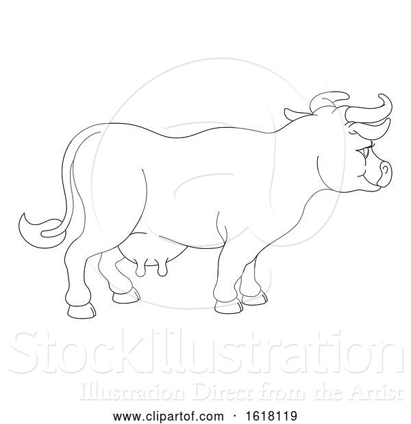 Vector Illustration of Cow Animal Character